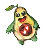 Cute happy avocado dancing. Watercolor illustration, cartoon character on a white background. The concept of a healthy