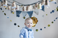 Cute happy  baby  boy on his birthday party. Royalty Free Stock Photography