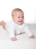 Cute happy baby in diaper Stock Images