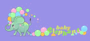 Cute happy baby elephant runs and pours colored dust on itself stock illustration
