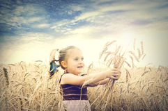 Cute happy baby playing on wheat field Royalty Free Stock Photo