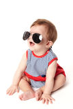 Cute happy baby with sunglasses isolated royalty free stock photography
