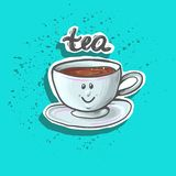 Cute happy baby tea cup sticker fashion patch badge or print Royalty Free Stock Image