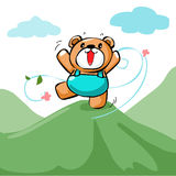 Cute happy bear stand on the mountain  Stock Photos