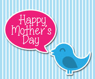 Cute Happy Bird Says Happy Mothers Day. Vector Car Royalty Free Stock Photos
