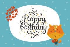 Cute happy birthday animal card Stock Photography