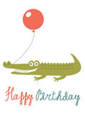 Happy birthday card with alligator holding balloon Royalty Free Stock Photography