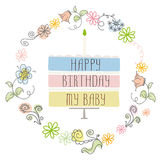 Cute happy birthday card with cake and candle Stock Photography