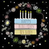 Cute happy birthday card with cake and candles. Cute happy birthday card with cake, candles and frame flowers. On black background.vector illustration stock illustration