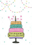 Cute happy birthday card with cake and candles. Illustration Royalty Free Stock Images