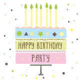 Cute happy birthday card with cake and candles. Cute happy birthday party card with cake and candles. vector illustration Royalty Free Stock Image