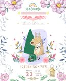 Cute happy birthday card with cartoon Deer. Watercolor fairy clip art and beauty boho pink flowers, floral. lamp light and leaf. For greeting card on white royalty free stock images