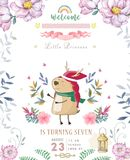 Cute happy birthday card with cartoon Deer. Watercolor fairy clip art and beauty boho pink flowers, floral. lamp light and leaf. For greeting card on white royalty free stock photography