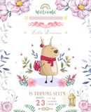 Cute happy birthday card with cartoon Deer. Watercolor fairy clip art and beauty boho pink flowers, floral. lamp light and leaf. For greeting card on white royalty free stock photos