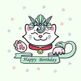 Cute Happy Birthday card with Cat, Marimaid Sea Shell Crown. Vector illustration for party invitation, greeting card, love you card. White Maneki Neko is Royalty Free Stock Photography