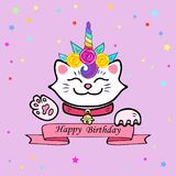 Cute Happy Birthday card with cat and Unicorn tiara. Vector illustration for party invitation, greeting card, love you card. White Maneki Neko is symbol of stock illustration