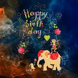Cute Happy birthday card with cheerful elephant, crocodile and monkey Royalty Free Stock Images