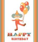 Cute happy birthday card with clown. Happy birthday card with funny clown holding balloons Stock Illustration