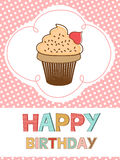 Cute happy birthday card with creamy cupcake Royalty Free Stock Photography