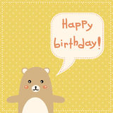Cute happy birthday card with fun bear. Royalty Free Stock Photo