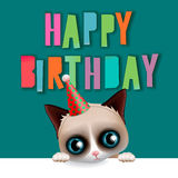 Cute happy birthday card with fun cat Stock Photography