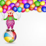 Cute happy birthday card with fun clowns. With balloons background Royalty Free Stock Photos