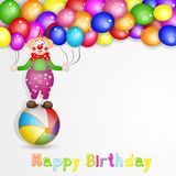 Cute happy birthday card with fun clowns. With entertainment tools on white background Stock Photos