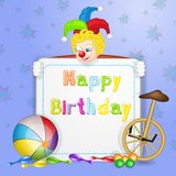 Cute happy birthday card with fun clowns. And   entertainment tools on white background Stock Images