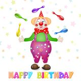 Cute happy birthday card with fun clowns. With entertainment tools Stock Image