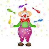 Cute happy birthday card with fun clowns. With entertainment tools Royalty Free Stock Image
