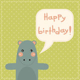 Cute happy birthday card with fun hippo. Stock Photography