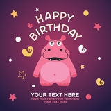 Cute happy birthday card with fun hippo. Royalty Free Stock Images