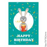 Cute Happy Birthday card with funny animals vector illustration