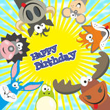 Cute happy birthday card with funny animals. Elk, cow, hedgehog, Royalty Free Stock Images