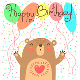 Cute happy birthday card with funny bear. Stock Images