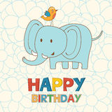 Cute Happy Birthday card with funny elephant and Stock Image