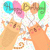 Cute happy birthday card with funny kittens. Royalty Free Stock Images
