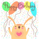 Cute happy birthday card with funny leveret. Royalty Free Stock Photo