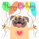 Cute happy birthday card with funny puppy. Loving pug and balloons. stock illustration