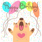 Cute happy birthday card with funny puppy. Stock Images