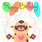 Cute happy birthday card with funny puppy. Stock Photo