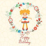 Cute Happy Birthday card with happy girl in floral Stock Photo