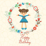 Cute Happy Birthday card with happy girl in floral Stock Image