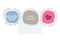 Cute happy birthday card stock illustration