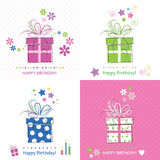 Cute happy birthday cards collection Stock Images