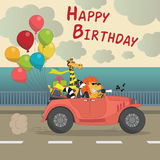 Cute Happy birthday greeting card for child fun cartoon style Th. Ere are birthday gifts funny animals in the car cabriolet with balloons Vector Illustration Stock Image