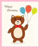 Cute happy birthday greeting card with a fun bear Stock Photography