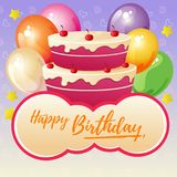 Cute happy birthday lettering with party cake. Additional file in eps 10 Royalty Free Stock Photo