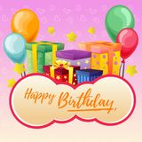 Cute happy birthday lettering with present box. Additional file in eps 10 Royalty Free Stock Image