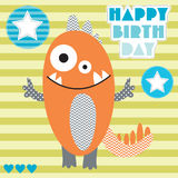 Cute and happy birthday monster vector illustration Stock Photo